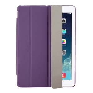 Purple Four-fold Leather Smart Case for iPad Air w/ Detachable Companion Cover
