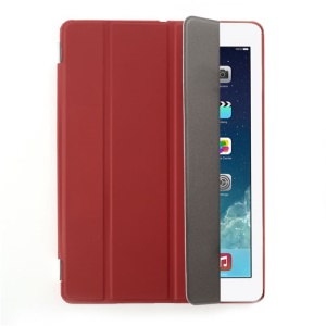Red Four-fold Leather Smart Cover for iPad Air w/ Detachable Companion Case