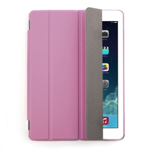 Pink Four-fold Leather Smart Cover for iPad Air w/ Detachable Companion Case