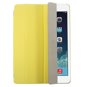 Yellow Four-fold Leather Smart Cover for iPad Air w/ Detachable Companion Shell Case