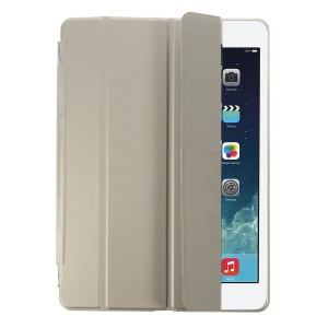 Champagne Four-fold Leather Smart Cover for iPad Air w/ Detachable Companion Shell Case