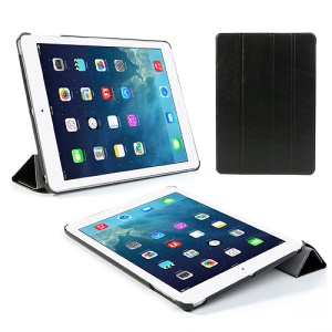 Four-fold Crazy Horse Leather Smart Cover w/ Stand for iPad Air - Black