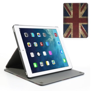Retro UK Flag Sucker Cross Leather Stand Case for iPad Air