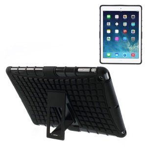For iPad Air Rugged Anti-slip Plastic & TPU Hybrid Case w/ Kickstand - Black