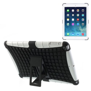 For iPad Air Rugged Anti-slip Plastic & TPU Hybrid Case w/ Kickstand - Black / White