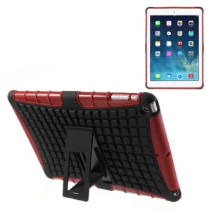 For iPad Air Rugged Anti-slip Plastic & TPU Hybrid Case w/ Kickstand - Black / Red