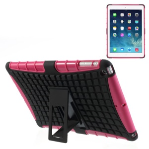 For iPad Air Rugged Anti-slip Plastic & TPU Hybrid Cover w/ Kickstand - Black / Rose