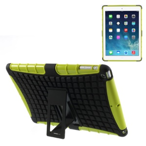 For iPad Air Rugged Anti-slip Plastic & TPU Combo Cover w/ Kickstand - Black / Green
