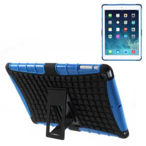 For iPad Air Rugged Anti-slip Plastic & TPU Combo Case w/ Kickstand - Black / Blue