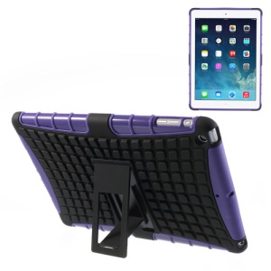 For iPad Air Rugged Anti-slip Plastic & TPU Combo Shell w/ Kickstand - Black / Purple
