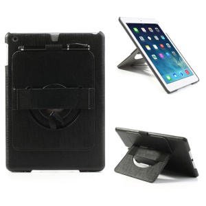 For iPad Air Leather Coated Hard Case w/ 360 Degree Rotary Stand & Hand Strap - Black