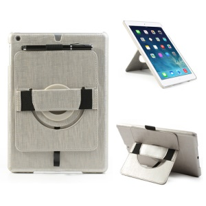 For iPad Air Leather Coated Hard Case w/ 360 Degree Rotary Stand & Hand Strap - Silver