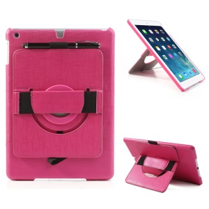 For iPad Air 5 Leather Coated Hard Case w/ 360 Degree Rotary Stand & Hand Strap - Rose