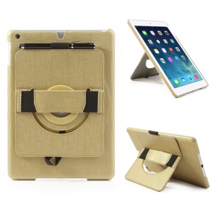 For iPad Air 5 Leather Coated Hard Case w/ 360 Degree Rotary Stand & Hand Strap - Gold