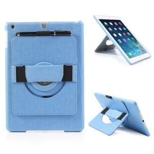 For iPad Air 5 Leather Coated Hard Cover w/ 360 Degree Rotary Stand & Hand Strap - Blue