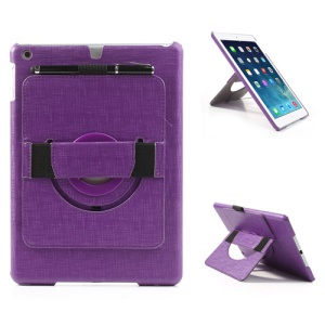 For iPad Air 5 Leather Coated Hard Cover w/ 360 Degree Rotary Stand & Hand Strap - Purple