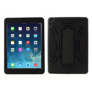 Armored Robot Silicone & Plastic Hybrid Case w/ Stand for iPad Air 5 - Black