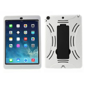 Armored Robot Silicone & Plastic Hybrid Case w/ Stand for iPad Air 5 - Black / White