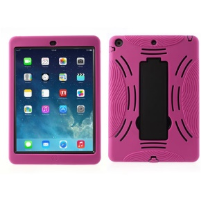 Armored Robot Silicone & Plastic Hybrid Cover w/ Stand for iPad Air 5 - Black / Rose