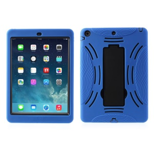 Armored Robot Silicone & Plastic Combo Shell w/ Stand for iPad Air 5 - Black / Blue