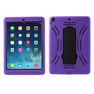 For iPad Air 5 Armored Robot Silicone & Plastic Combo Shell w/ Stand - Black / Purple