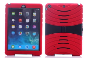 Impact-resistant Snap-on Plastic & Silicone Defender Cover for iPad Air - Red