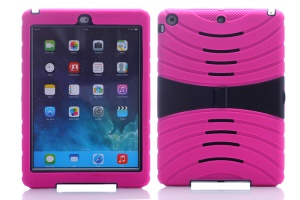 Impact-resistant Snap-on Plastic & Silicone Defender Shell for iPad Air - Rose