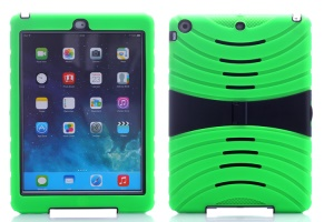 Impact-resistant Snap-on Plastic & Silicone Defender Case Shell for iPad Air - Green