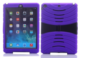 Impact-resistant Snap-on Plastic & Silicone Defender Case for iPad Air - Purple