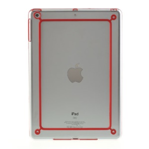 Backless PC + TPU Bumper Skin Cover for iPad Air - Transparent / Red