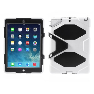 Military Duty for iPad Air 5 PC + Silicone Hybrid Case with Kicktand - White