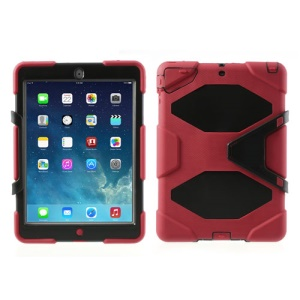 Military Duty PC + Silicone Combo Case for iPad Air 5 with Kicktand - Red