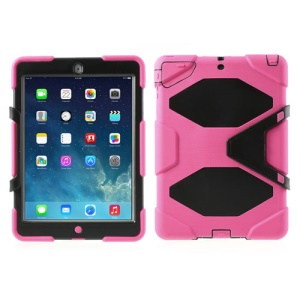 Military Duty Kicktand PC + Silicone Hybrid Combo Case for iPad Air - Rose