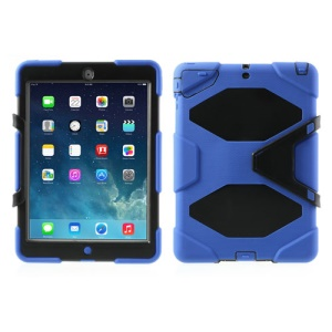 Military Duty Kicktand PC + Silicone Hybrid Gel Cover for iPad Air - Blue