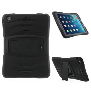 Three Pieces Snap-on Rugged Plastic & Silicone Hybrid Case for iPad Air - Black