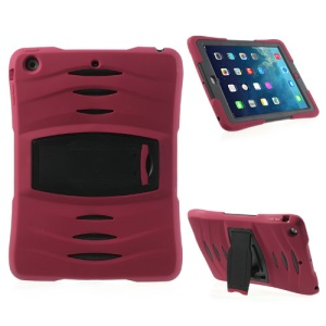 Three Pieces Snap-on Rugged Plastic & Silicone Hybrid Shell for iPad Air - Black / Red