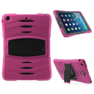 Three Pieces Snap-on Rugged Plastic & Silicone Hybrid Case Shell for iPad Air - Black / Rose