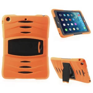Three Pieces Snap-on Rugged Plastic & Silicone Combo Case for iPad Air - Black / Orange