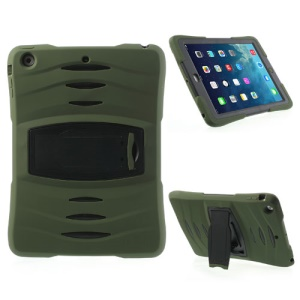 Three Pieces Snap-on Rugged Plastic & Silicone Combo Cover for iPad Air - Black / Army Green