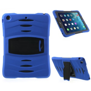 Three Pieces Snap-on Rugged Plastic & Silicone Combo Shell Cover for iPad Air - Black / Dark Blue