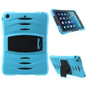 Three Pieces Snap-on Rugged Plastic & Silicone Combo Shell for iPad Air - Black / Baby Blue