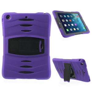 Three Pieces Snap-on Rugged Plastic & Silicone Combo Shell Accessory for iPad Air - Black / Purple
