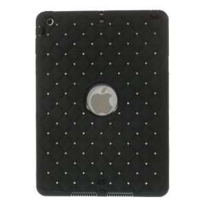 Diamond Starry Sky Silicone & PC Hybrid Case for iPad Air w/ Built-in Screen Protector - Black