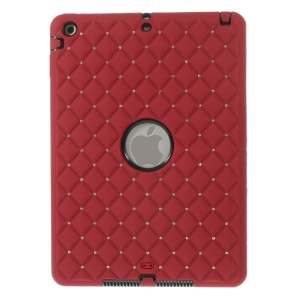 Diamond Starry Sky Silicone & PC Hybrid Shell for iPad Air w/ Built-in Screen Protector - Red