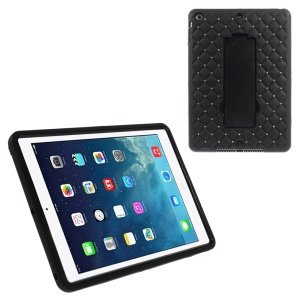 Rhinestone Starry Sky Silicone & PC Hybrid Kickstand Case for iPad Air w/ Built-in Screen Protector - Black