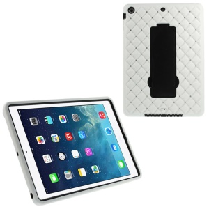 Rhinestone Starry Sky Silicone & PC Hybrid Kickstand Cover for iPad Air w/ Built-in Screen Protector - White