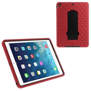 For iPad Air Rhinestone Starry Sky Silicone & PC Hybrid Case w/ Kickstand & Built-in Screen Protector - Red