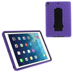 Rhinestone Starry Sky Silicone & PC Combo Cover for iPad Air w/ Kickstand & Built-in Screen Protector - Purple