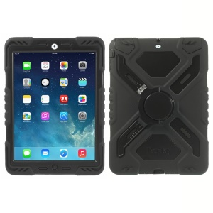 Pepkoo Spider Series Silicone PC Extreme Heavy Duty Case for iPad Air - Black