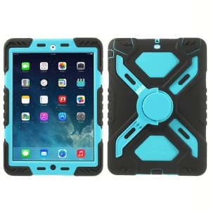 Pepkoo Spider Series for iPad Air Silicone PC Extreme Heavy Duty Cover - Blue / Black